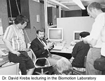 Dr. David Krebs lecturing in the Biomotion Laboratory