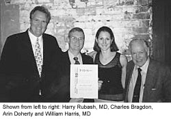 Shown from left to right: Harry Rubash, MD, Charles Bragdon, Arin Doherty and William Harris, MD