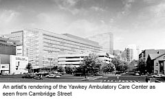 An artist's rendering of the Yawkey Ambulatory Care Center as seen from Cambridge Street